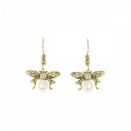 Golden Bee pearl drop earrings