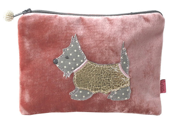 Velvet applique scottie dog purse in dusty pink