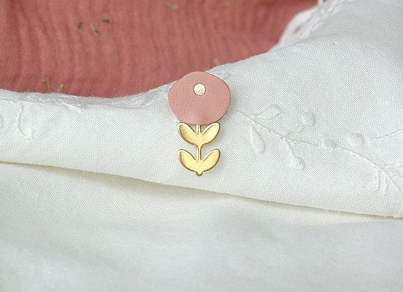 Pin's fleur rose -L'indisrête