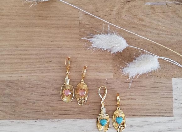 Boucles d'oreilles Sacha pierre cœur--La2l
