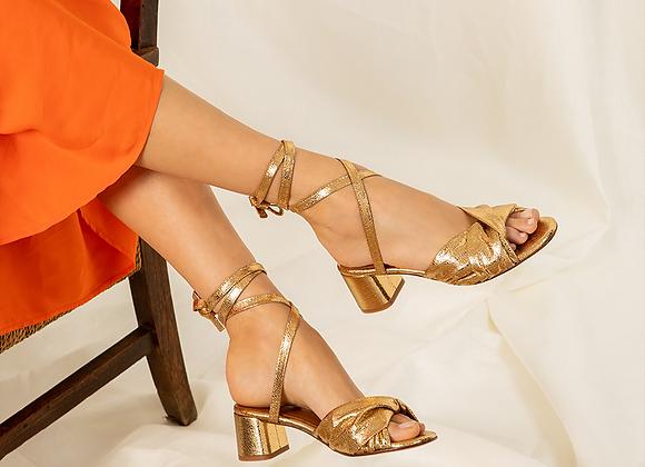 Sandales Narcisse doré.- Anaki