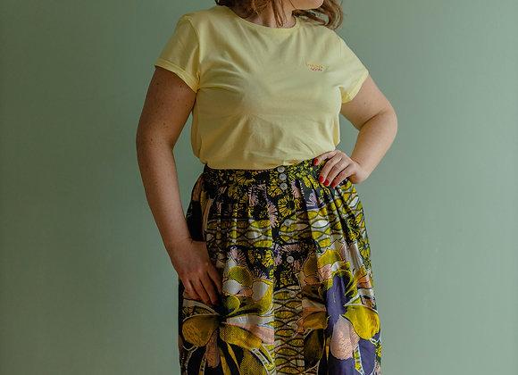 Jupe Stella wax fleurs roses et jaunes