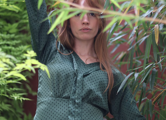 Robe Aimée vert plumetis