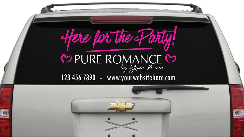 Here For The Party Rear Window Decal Pink (Large) 38cm x 101cm
