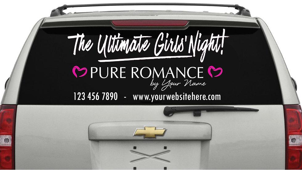 Ultimate Girls Night Rear Window Decal White (Large) 38cm x 101cm