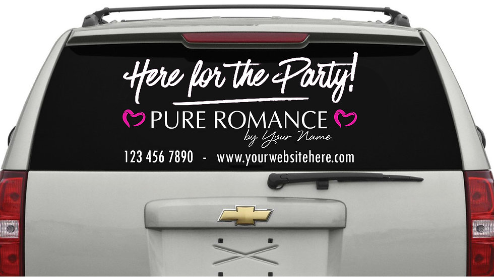 Here For The Party Rear Window Decal White (Large) 38cm x 101cm