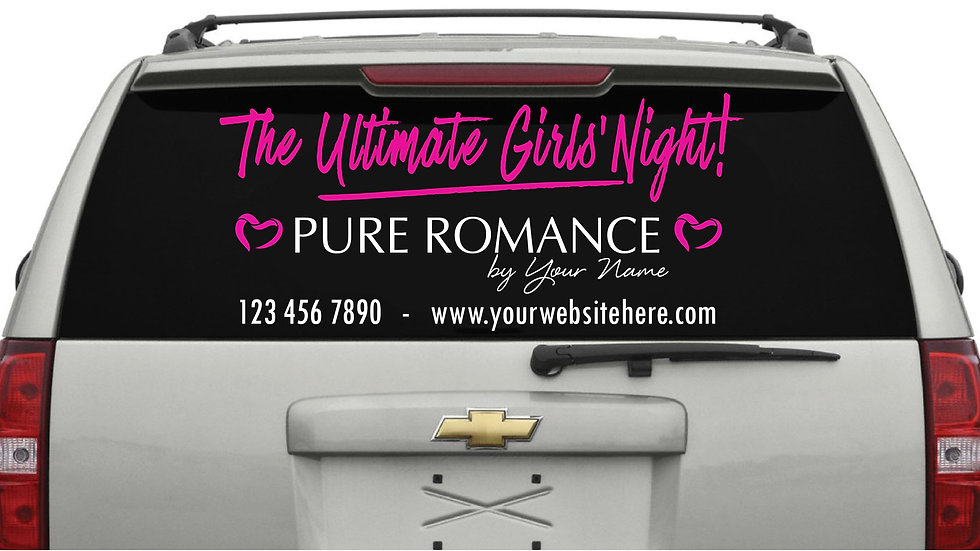 Ultimate Girls Night Rear Window Decal Pink (Small/Medium) 30cm x 76cm