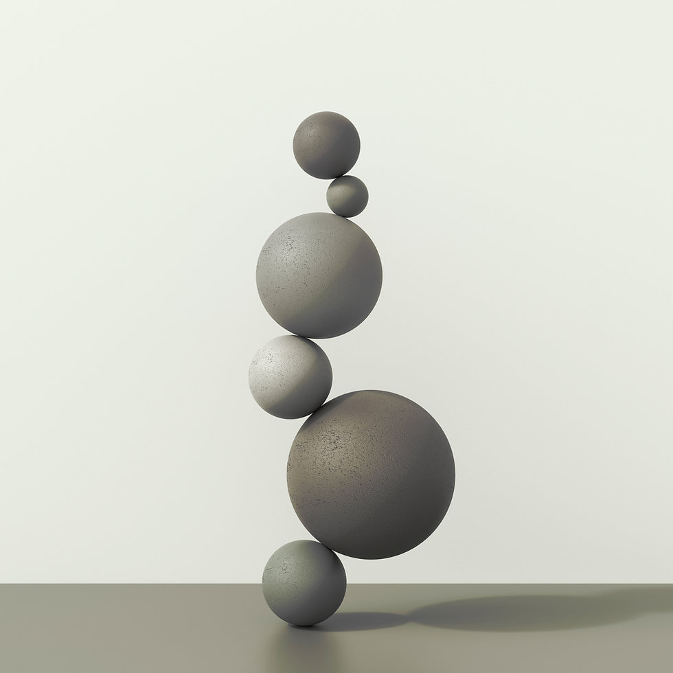 Stone balls perfectly balanced on top of each other