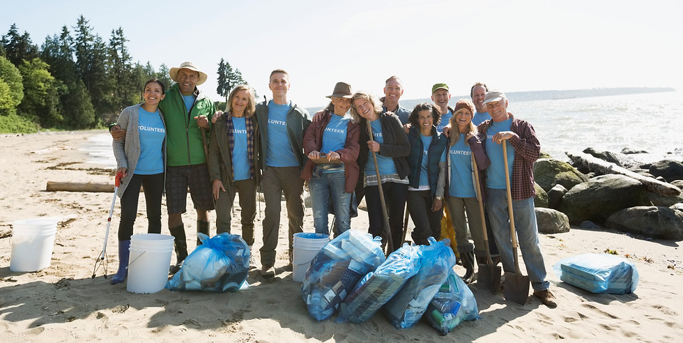 Volontari per la raccolta della plastica