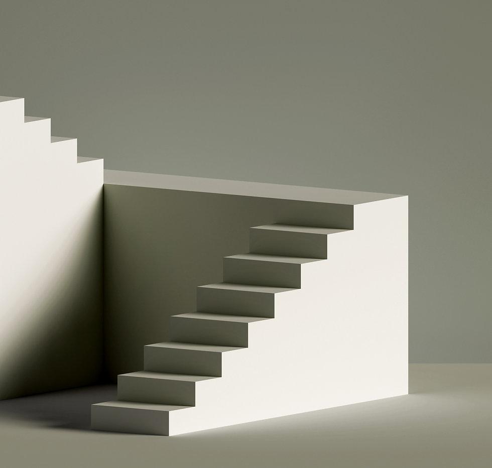 A staircase inside a minimalist shape