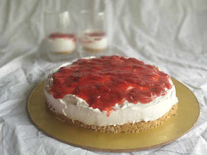 Easy No-bake Strawberry Cheesecake at home| theflavours101.
