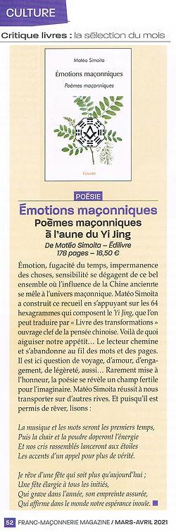 Critique littéraire parue dans Franc-Maçonnerie Magazine