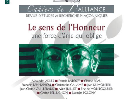 Vient de paraître : Le dernier numéro des cahiers de l'Alliance consacré au sens de l'honneur !