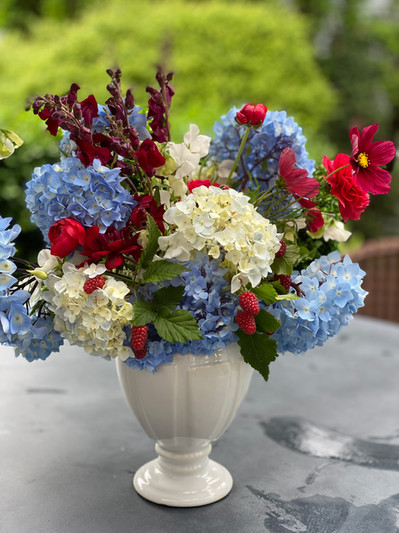 White and Blue Hydrangea with Red Snapdragons, Cosmos and Raspberries