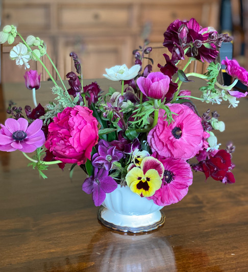 Ranunculus, Anemones, Pansies, Nicotiana, Cosmos and Silene