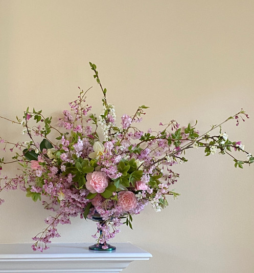 Foraged Cherry Branches, Camelia, Hellebores and Narcissus