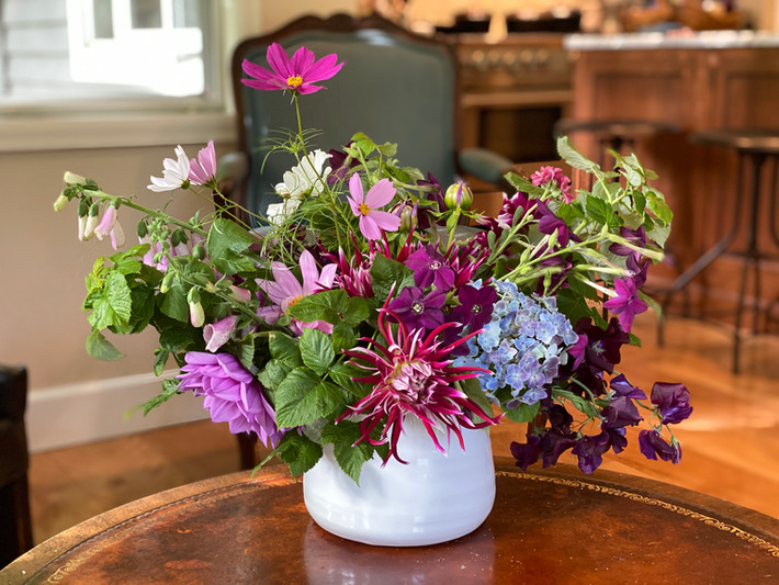 Foxglove, Cactus Dahlia, Cosmos, Hydrangea, Nicotiana, Sweet Peas, and Raspberry Greens
