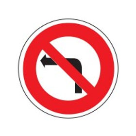 B2a  Interdiction de tourner à gauche à la prochaine intersection