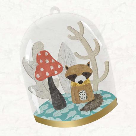 Raccoon Glass Dome