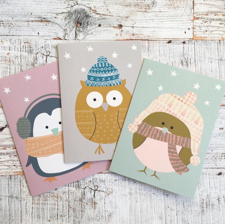 Christmas Card Bird Trio