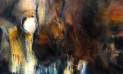 Neena Singh 3  Floating in the liquid darksuspended against will or dream-36''x60''-Acrylic on canva