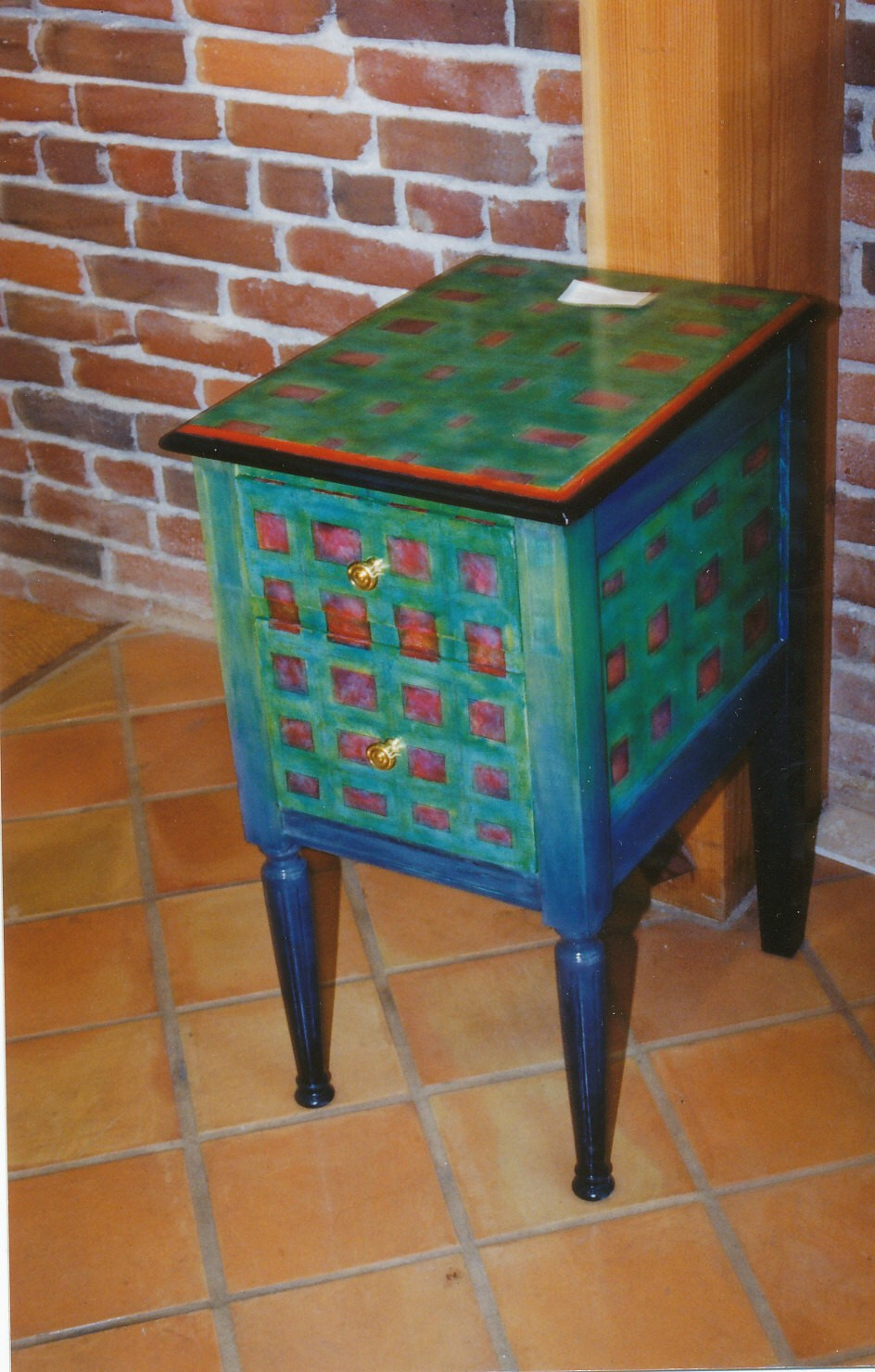 David W. Douthat custom painted end table1986