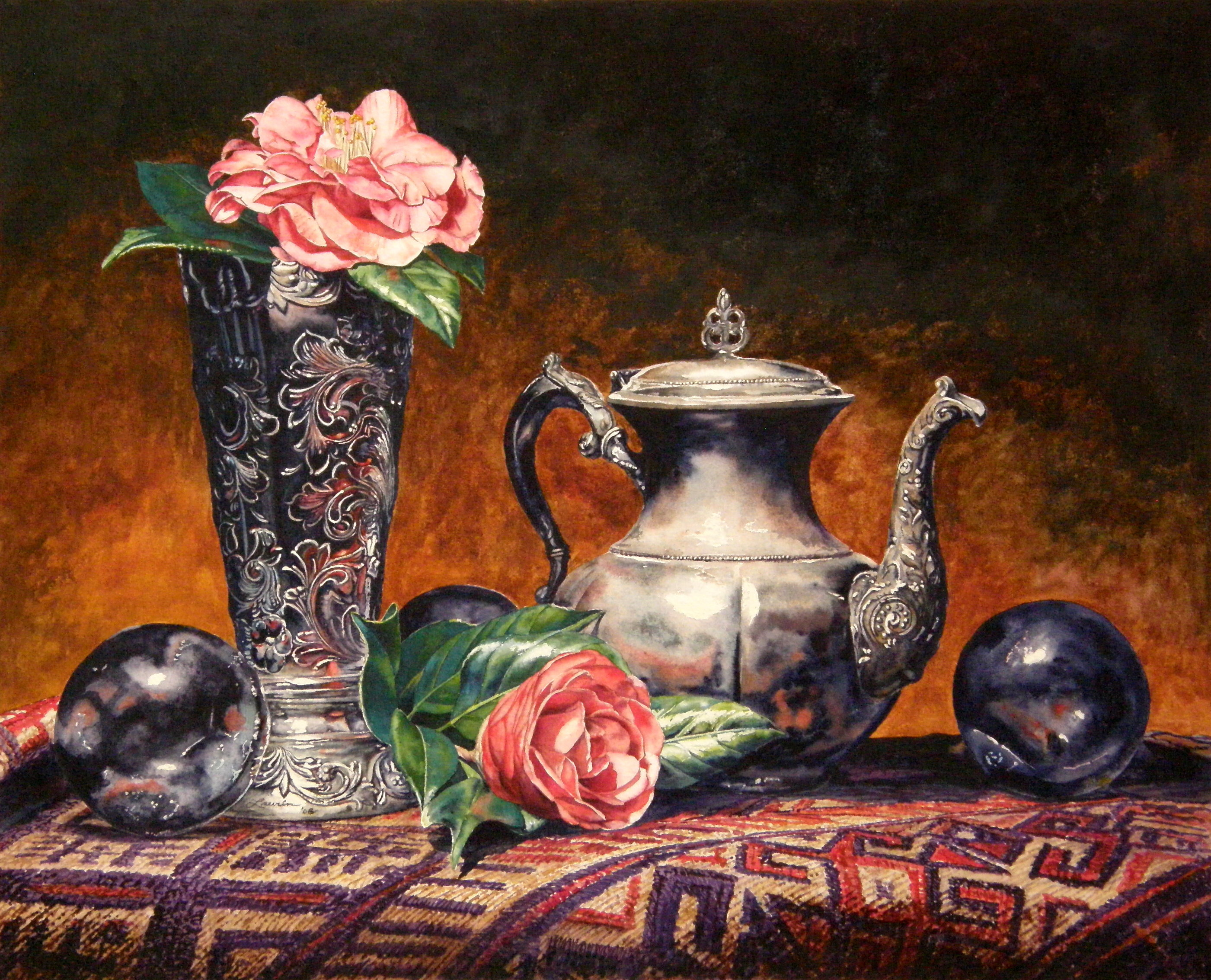 Laurin McCracken Antiques with Camelias 18x22  hr