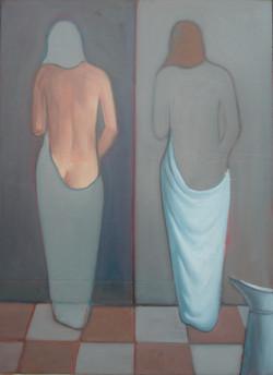 Sami Gjuka BATH oil on wood 74 x 57 cm - Kopi