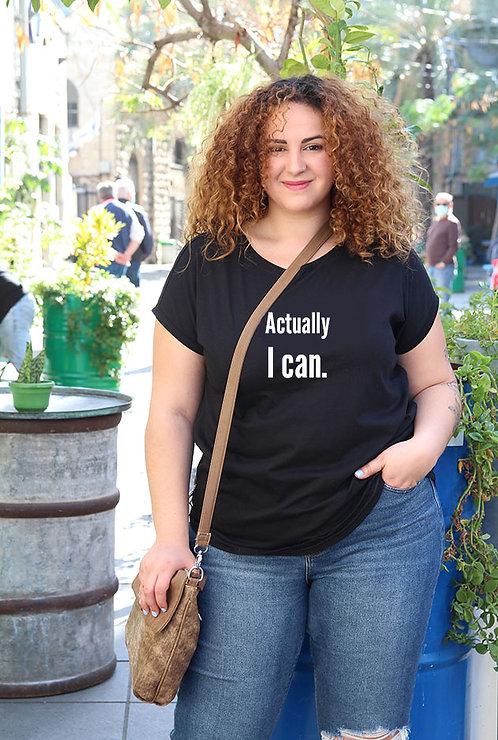 חולצה  שחורה מעוצבת בהדפס Actually I can