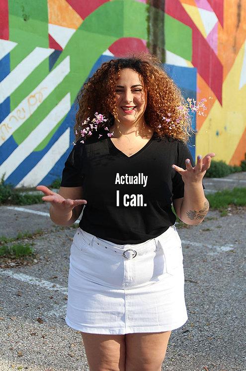 חולצת וי שחורה מעוצבת בהדפס  Actually I can