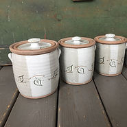 pottery canisters with lids