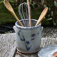 kitchen utensil crock handmade stoneware pottery