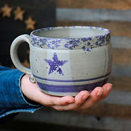 stars and stripes design pottery soup mug