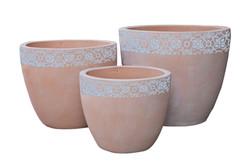 Pot rond frise feuille A1342209-3W