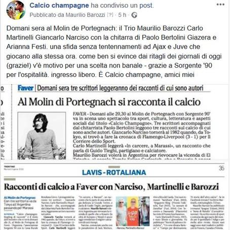 Domani, 10 aprile: Calcio champagne - reading di racconti (di calcio)