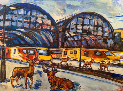 King's Cross railway station, Acrylic and markers on A3 paper, May 2020