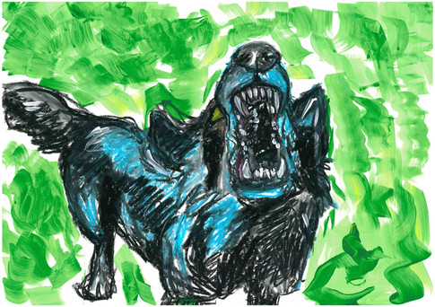 Sonya is Barking, Acrylic and oil pastels on A3 paper, March 2020