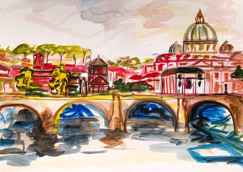 Vatican City, Watercolour sketch on A4 paper, April 2020
