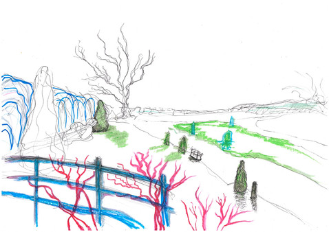 Kensington Gardens 2.0, Markers and oil pastels on A3 paper, April 2020