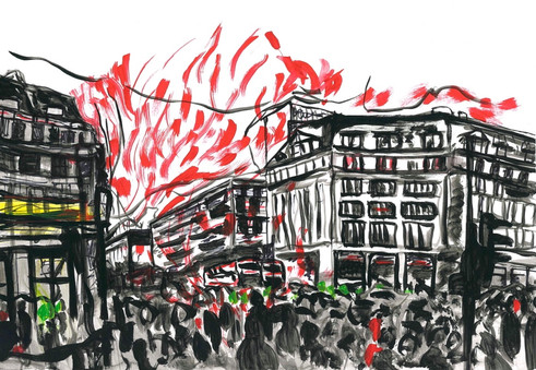 Oxford Circus on Fire, Acrylic and markers on A3 paper, May 2020