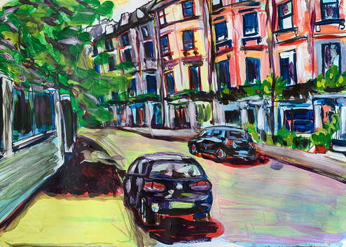 West End, Acrylic and markers on A3 paper, April 2020