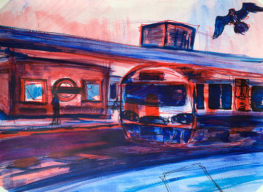 London Tube, Acrylic and markers on A3 paper, May 2020