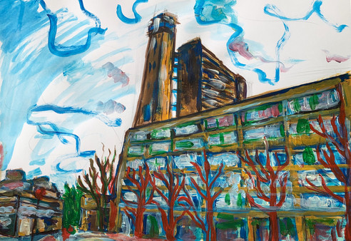 Trellick Tower, Acrylic on A3 paper, May 2020