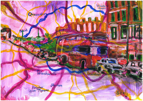 Old London Map, Acrylic and markers on A3 paper, May 2020