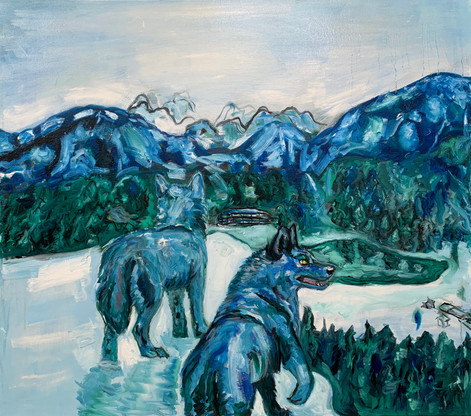 Blue Wolves, Oil on canvas, 28 x 32 inches, March 2020