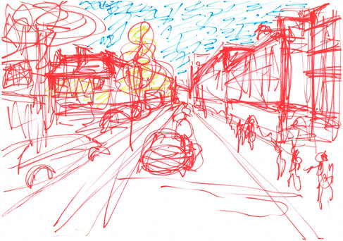High Street Kensington, Markers on A3 paper, April 2020
