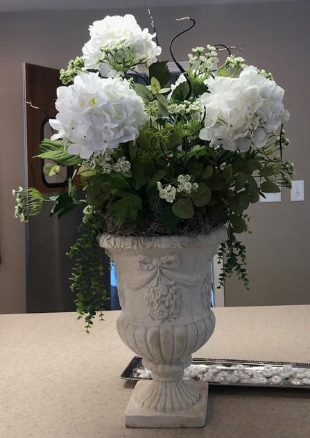 Large Hydrangea in Stone Vase