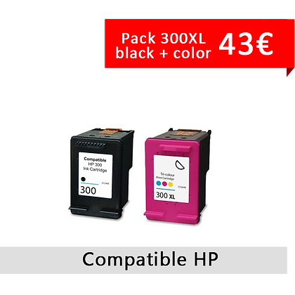 Pack HP 300 Color + Black