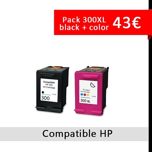 Pack HP 300 Color + Black