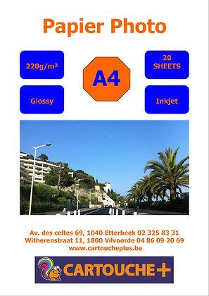 Papier Glossy A4 220g 20 Feuilles